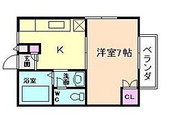 大阪府大阪市北区国分寺1丁目の賃貸アパートの間取り