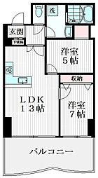 クリスタルタワー 2階2LDKの間取り