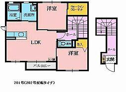 シマ セントラル ステージ B 2階2LDKの間取り