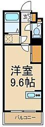 ミランダハピネスルームNo12 1階ワンルームの間取り