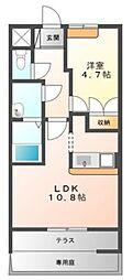 南海高野線 萩原天神駅 徒歩29分の賃貸マンション 1階1LDKの間取り