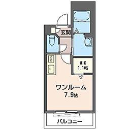 アルカディア横濱 3階ワンルームの間取り