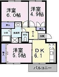 大阪府堺市中区八田西町3丁の賃貸マンションの間取り