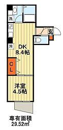 JR総武線 千葉駅 徒歩10分の賃貸マンション 1階1LDKの間取り