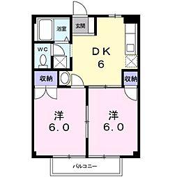 愛知県岡崎市大和町字桑子の賃貸アパートの間取り
