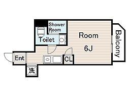 プランドール野江 2階ワンルームの間取り