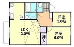 アメニティ倉敷 E[2階]の間取り