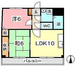 マンション曽根本 6階2LDKの間取り