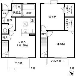 東京都羽村市羽西1丁目の賃貸アパートの間取り
