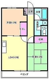 大阪府枚方市津田駅前2丁目の賃貸アパートの間取り