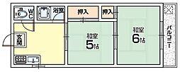 三熊渚南ハイツ[2階]の間取り