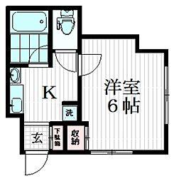 ROW HOUSE 野方 1階1Kの間取り