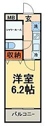 新京成電鉄 新津田沼駅 徒歩5分の賃貸マンション 4階1Kの間取り