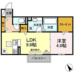 レガーロ 1階1LDKの間取り