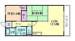 大阪府豊中市上津島3丁目の賃貸マンションの間取り