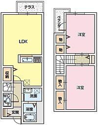 大阪府交野市星田2丁目の賃貸マンションの間取り