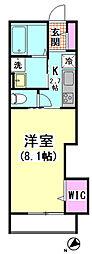 タウンハウス神宮前 3階1Kの間取り