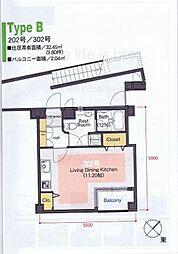 COZY PLACE NAGAO(コージィープレイスナガオ)[302号室]の間取り