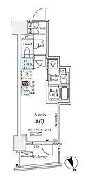 パークナードフィット南青山Vista 11階ワンルームの間取り