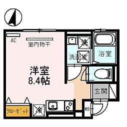 アビタシオン 栄 1階ワンルームの間取り