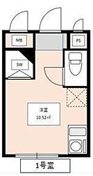 京王線 笹塚駅 徒歩12分の賃貸アパート 1階ワンルームの間取り