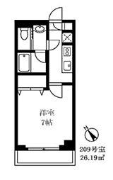 東急目黒線 不動前駅 徒歩4分の賃貸マンション 2階1Kの間取り