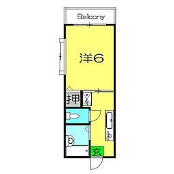 第2フラッツ横浜[101号室]の間取り
