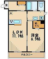 サンリスタ登戸 2階1LDKの間取り