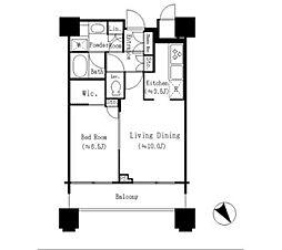 パークシティ武蔵小杉 ザグランドウイングタワー 13階1LDKの間取り