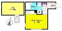 小田急小田原線 生田駅 徒歩5分の賃貸アパート 1階ワンルームの間取り
