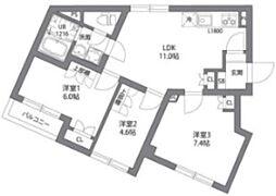 東急東横線 都立大学駅 徒歩9分の賃貸マンション 1階3LDKの間取り