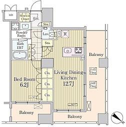 JR京葉線 八丁堀駅 徒歩5分の賃貸マンション 7階1LDKの間取り