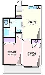 神奈川県横浜市緑区中山町の賃貸アパートの間取り