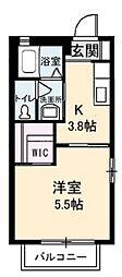アンシャンテ 新田 B[1階]の間取り