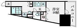 アイディ大井町22 8階ワンルームの間取り
