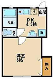 多摩都市モノレール 程久保駅 徒歩3分の賃貸アパート 1階1DKの間取り