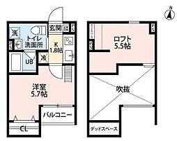 南海高野線 北野田駅 徒歩10分の賃貸アパート 2階1Kの間取り