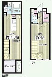 東急目黒線 西小山駅 徒歩8分の賃貸マンション 1階1LDKの間取り