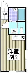 JR南武線 矢川駅 徒歩15分の賃貸アパート 2階ワンルームの間取り