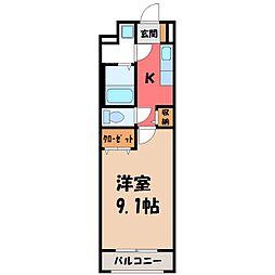 ルミライズ 3階1Kの間取り