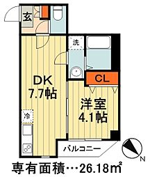 JR総武線 千葉駅 徒歩21分の賃貸マンション 1階1DKの間取り