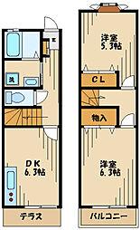 メゾン・ラフォーレ 2階2DKの間取り