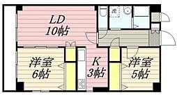 JR中央線 国立駅 徒歩17分の賃貸マンション 1階2LDKの間取り