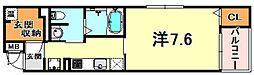 ボニート魚崎 4階1Kの間取り
