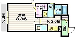 JR東海道本線 藤沢駅 徒歩11分の賃貸マンション 1階1Kの間取り