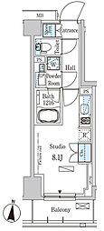 パークアクシス木場キャナルイースト 6階ワンルームの間取り