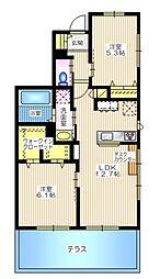 JR横須賀線 東戸塚駅 バス19分 六ツ川4丁目下車 徒歩3分の賃貸マンション 1階2LDKの間取り
