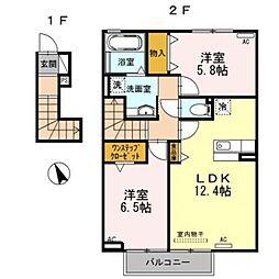 パーシモン平松[2階]の間取り