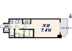 JR大阪環状線 寺田町駅 徒歩8分の賃貸マンション 14階1Kの間取り