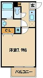 西生田一丁目共同住宅計画(B棟) 3階1Kの間取り